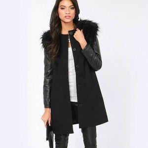 BB Dakota Cruz Convertible Black Faux Fur Coat